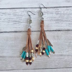 Hand Crafted Leather and Howlite Tassel Earrings
